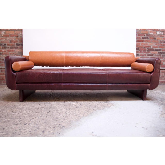 Remarkable sofa designed by Vladimir Kagan for American Leather Studios composed of two removable bolster accent pillows...