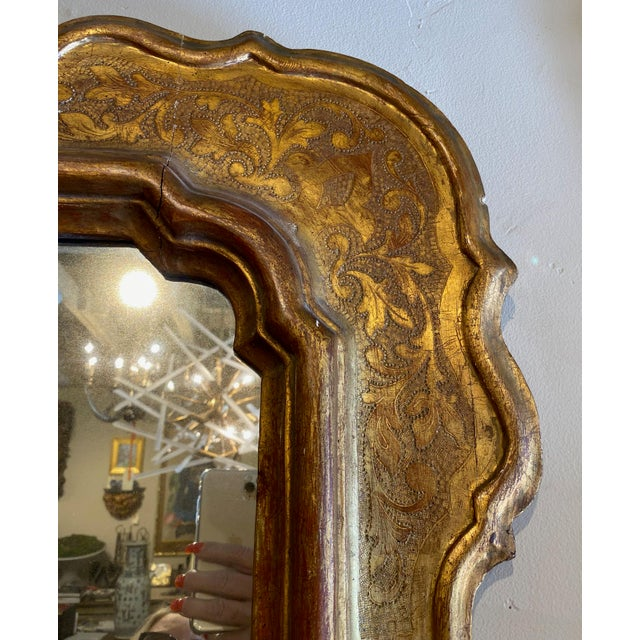 19th Century Beautiful French Gilt Mirror With Red Rub Through