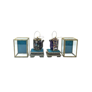 Cloisonné Tea Pots in Display Boxes, Set of 2 For Sale