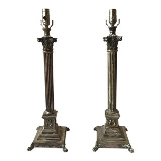 Pair of 1880s Tall Silver Plate Column Lamps For Sale