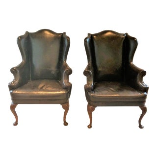 English Traditional Black Leather Wingback Chairs - a Pair For Sale