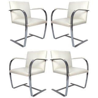 Mies Van Der Rohe, Knoll Flat Bar Brno Chairs, Eggshell White Leather, Set of 4 For Sale