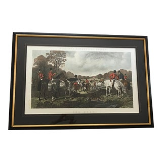 "Vintage Hand-Tinted Herring Fox Hunt Print ""The Meet"" Engraved by J. Harris For Sale"