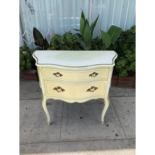 Vintage French chest of drawers with 3 drawers that slide out perfectly. No major damages or missing parts. Legs are...