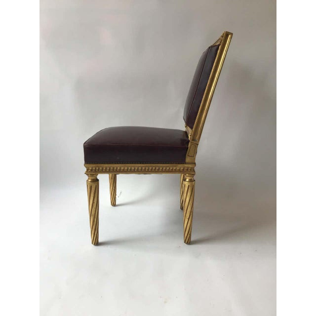 French Style Louis XVI Giltwood/ Leather Dining Chairs- Set of 4 For Sale - Image 9 of 13