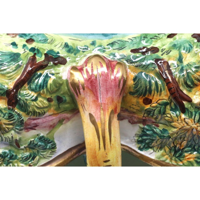 Green Vintage Italian Capodimonte Clover-Shaped Footed Bowl For Sale - Image 8 of 13