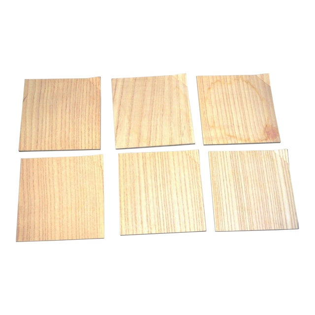 Image of Japanese Hinoki Cypress Wood Amuse Bouche Salad Dessert Small Square Plates Set of 6 Natural Organic