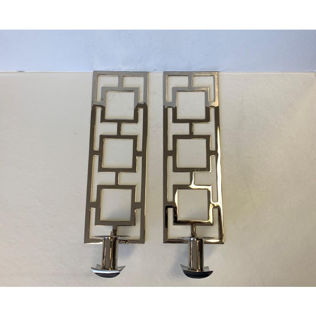 Modern Chrome Wall Sconces - a Pair For Sale - Image 4 of 10