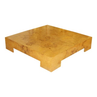 1970s Mid-Century Modern Milo Baughman Low Square Burl Wood Coffee Table For Sale