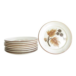 Vintage Denby Cotswold Pottery Bread Plates With Brown Leaves Design - Set of 8 For Sale