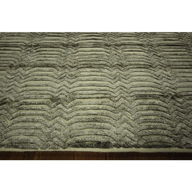 "Wool & Silk Pile Gray Moroccan Rug - 7'4"" x 8'2"" - Image 5 of 10"