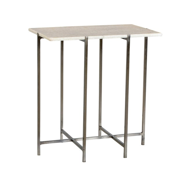 Contemporary Nickel & Marble Side Table For Sale - Image 3 of 3