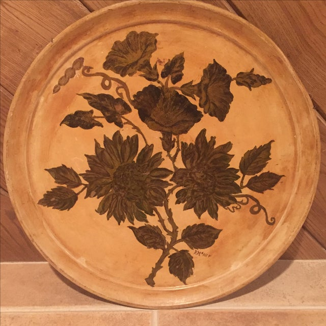 Antique Etched Cream & Gold Tole Tray - Image 3 of 7