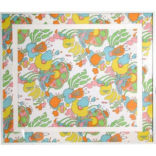 Peter Max Floral Cotton Fabric For Sale