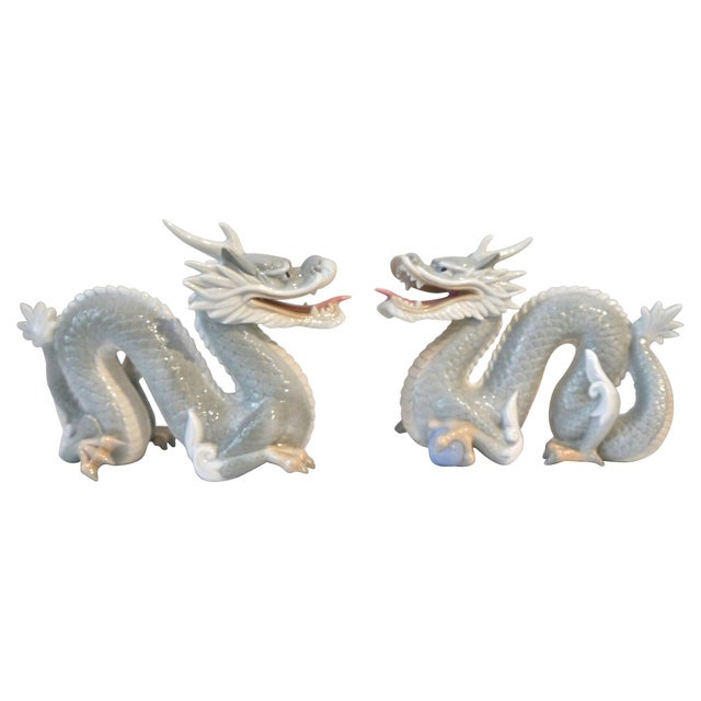 Vintage Japanese Porcelain Dragons - A Pair For Sale