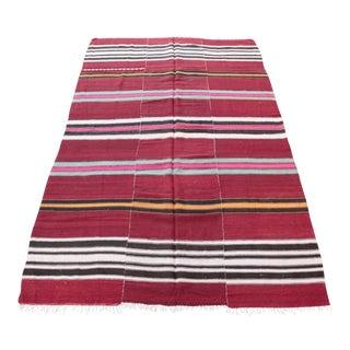 """Vintage Striped Kilim Rug - 5'1"""" x 8' For Sale"""