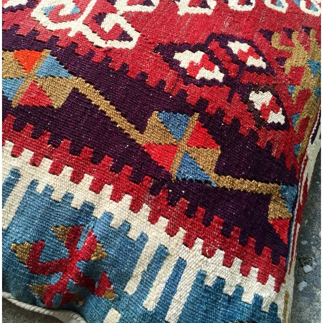 Vintage Red Geometric Turkish Kilim Pillow - Image 3 of 4