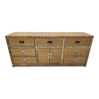 1970s Rattan Dresser With Brass Pulls For Sale