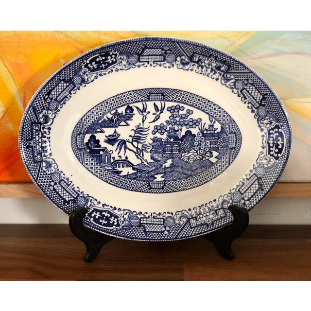 Asian Blue Willow Transfer Ware Serving Pieces and Plates- Set of 7 For Sale - Image 3 of 8