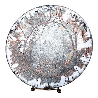 Vintage Mid-Century Frank Lee Cosmos Enamel Copper Plate For Sale