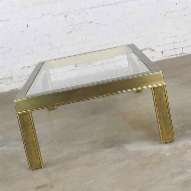 Large Modern Brass & Glass Parsons Style Coffee or Cocktail Table Style Mastercraft For Sale - Image 9 of 13