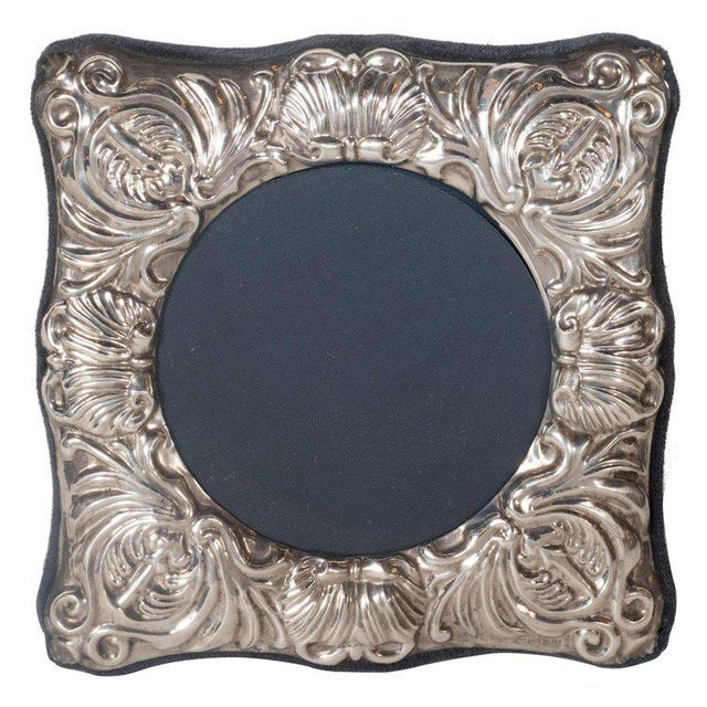Silver 19th Century British Sterling Silver Picture Frame with Repoussé Baroque Designs For Sale - Image 8 of 8