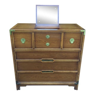 Mid Century Modern Campaign High Boy Dresser Chest of Drawers For Sale
