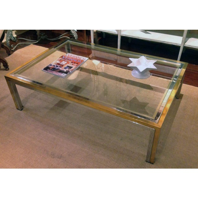 Mid-Century Modern Romeo Rega Mid-Century Modern Brass, Chrome and Glass Coffee Table For Sale - Image 3 of 7
