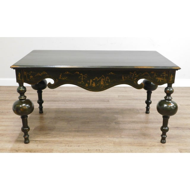 Traditional Banks Coldstone Co. Handpainted Green Table For Sale - Image 3 of 13