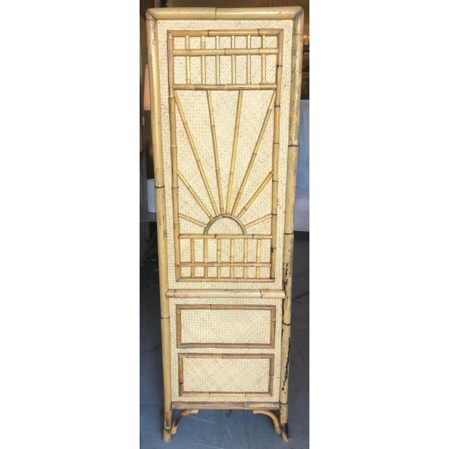 Boho Chic Vintage Rattan Burnt Bamboo Armoire For Sale - Image 3 of 13