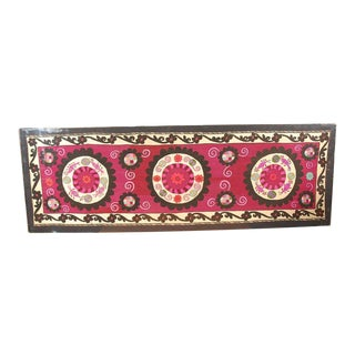 Embroidered Antique Uzbek Suzani Lucite Framed