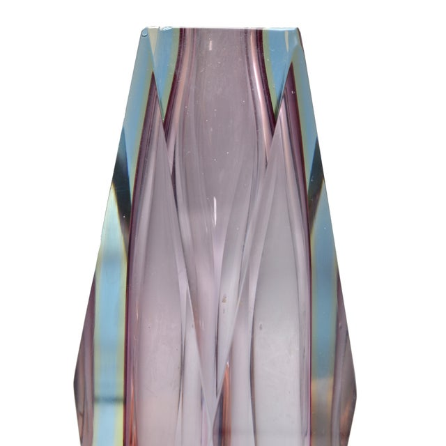 Art Glass Faceted Vase in Violet Attributed to Mandruzzato For Sale - Image 7 of 9
