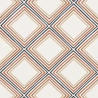 Sample - Schumacher X Vera Neumann Square Dance Wallpaper in Brown For Sale