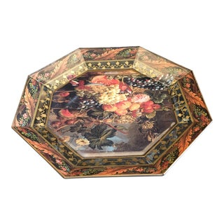 Monarchie Printed Fruit Basket Decoupage Glass Octagon Plate For Sale