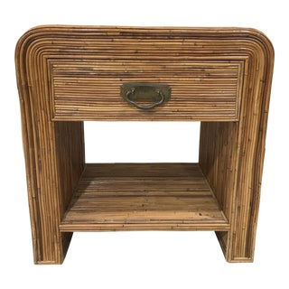 1960s Boho Chic Pencil Reed Nightstand or Side Table For Sale