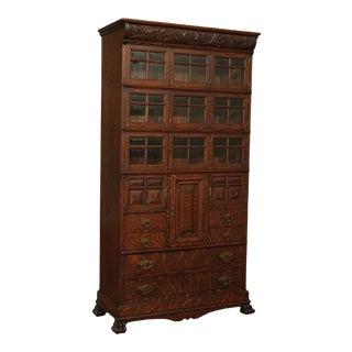 Antique American Oak Doctors Medical Bookcase Cabinet For Sale