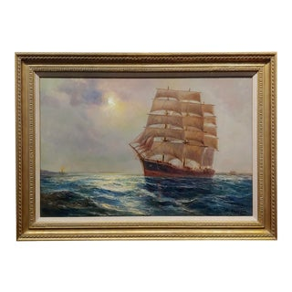 "Daniel Sherrin ""Clipper Sail Ship in a Seascape"" Oil Painting C.1900s For Sale"