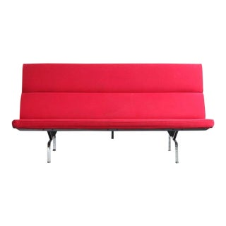 Herman Miller for Eames Red Upholstered Compact Sofa For Sale