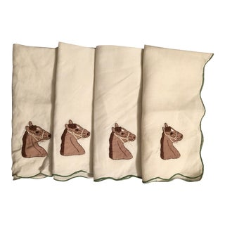Equestrian Linen Cocktail Napkins- Set of 4