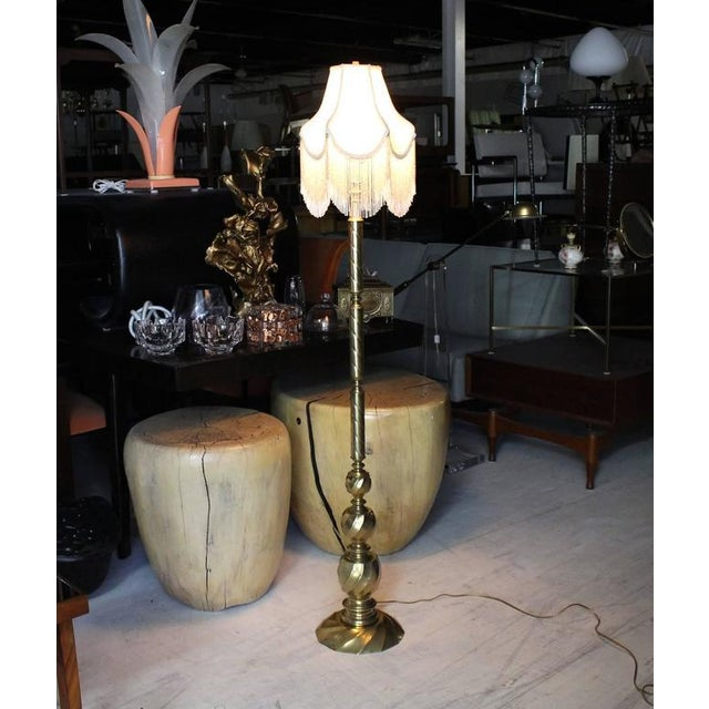 Mid-Century Modern Vintage Brass Floor Lamp with Decorative Glass Beads Shade For Sale - Image 3 of 8