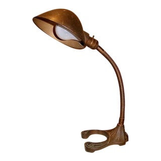 Art Deco Cast Iron Industrial Goose Neck Lamp For Sale