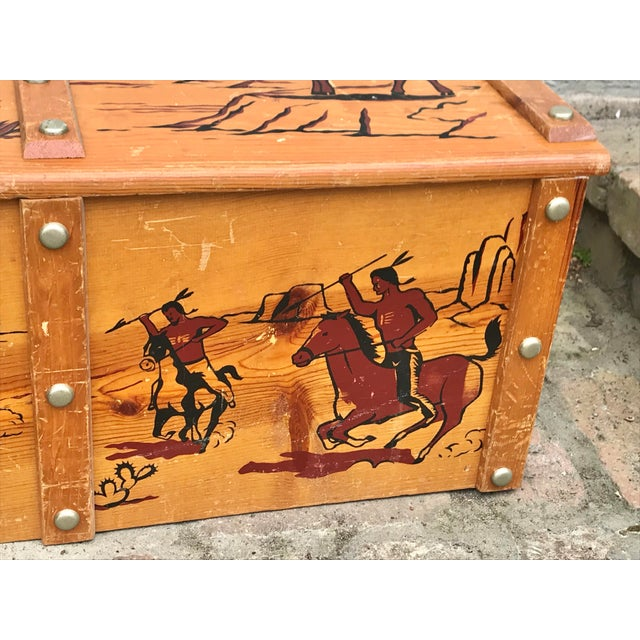 American 1950s Vintage Cowboys and Indians Wooden Toy Chest For Sale - Image 3 of 13