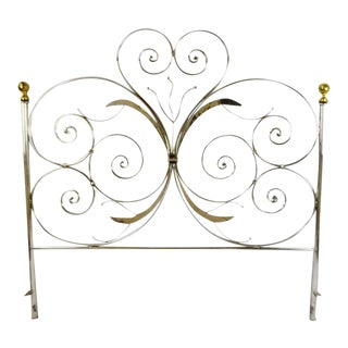 Late 20th Century Custom Handcrafted Hammered and Wrought Metal King Headboard For Sale