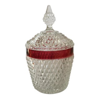 Hobnail Glass Ruby Flash Ice Bucket