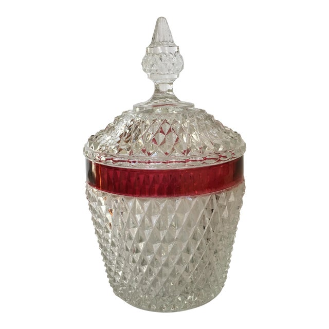 Hobnail Glass Ruby Flash Ice Bucket For Sale