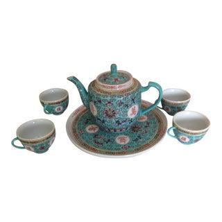 Antique Mint Porcelain Japanese Tea Set - Set of 5