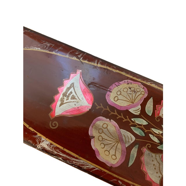 Vintage Lacquer Gloves Jewelry Box Hand Painted For Sale - Image 4 of 9