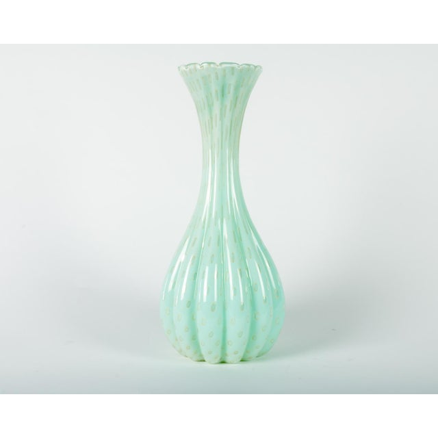 Tall Vintage Sea Mist Murano Fluted Deco Vase For Sale In New York - Image 6 of 6