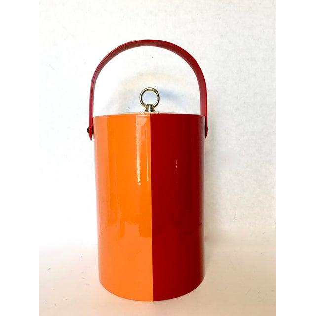 Mid-Century Red & Orange Striped Vinyl Ice Bucket - Image 4 of 6