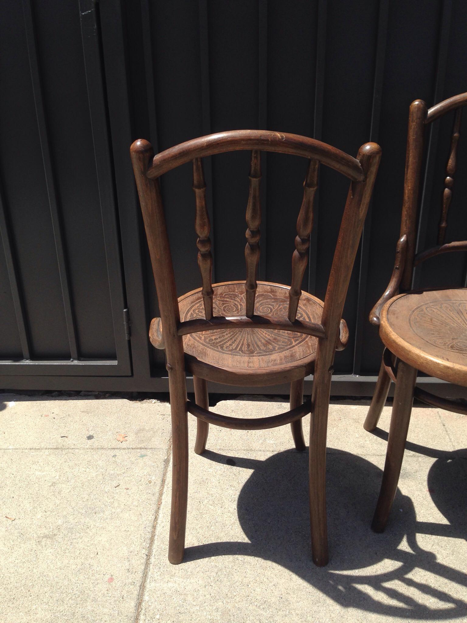 Vintage Wooden Cafe Chairs   Set Of 4   Image 5 Of 6